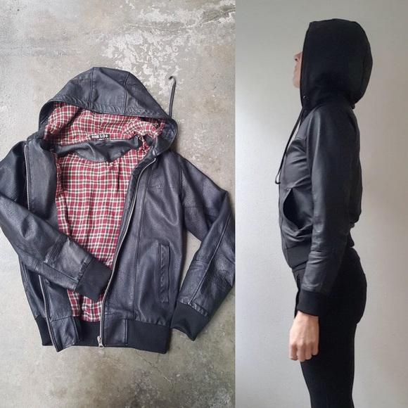 Doma Jackets & Blazers - THE LOT Varsity plaid hoodie leather jacket 2 xs